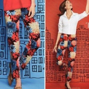 New Talbots Chatham Dahlia Red Floral Ankle Pants